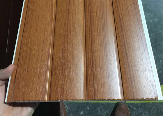 China Vinyl Wood Wall Paneling Sheets , Pvc Bathroom Ceiling Cladding Groove Design supplier