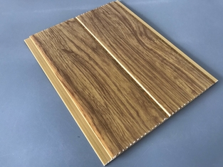 China 5mm Thickness Ceiling PVC Panels For Kitchen Two Golden Line Wooden Color supplier