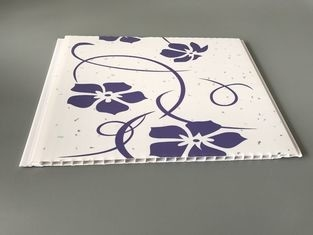 Customized Purple Flower Pvc Decorative Panels Transfer Printing Fireproof