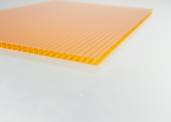 China Orange Polycarbonate Roofing Sheets For Building Skylights 6mm Thickness factory